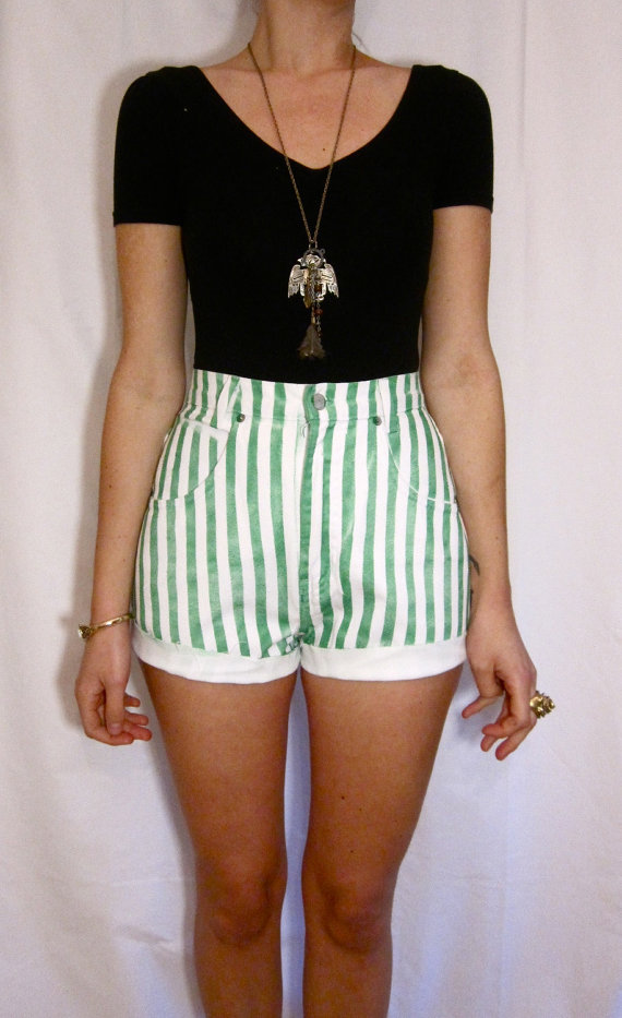 and White Striped Denim Shorts by PrudenceandAustere on Etsy