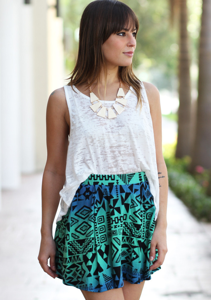 Blue green tribal skirt