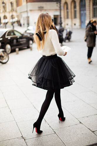fall outfits black skirt puffy puffy skirt fashion week louboutin winter outfits elegant fuzzy sweater off-white tulle skirt ruffle tights skirt tutu dress cute outfits outfit outfit idea stilettos black stilettos black heels beautiful d'orsay pumps opaque tights sweater black fluffy volume shirt dress