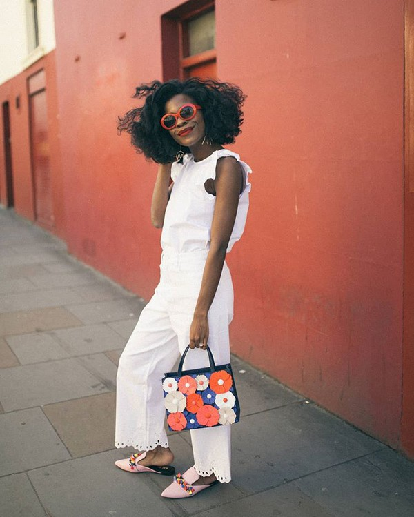 sunglasses white top white pants bag flowers bag mules pink mules red sunglasses