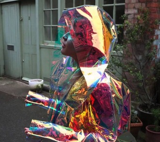 clothes raincoat holographic raincoat girly rain rainy purple yellow orange cool holographic jacket