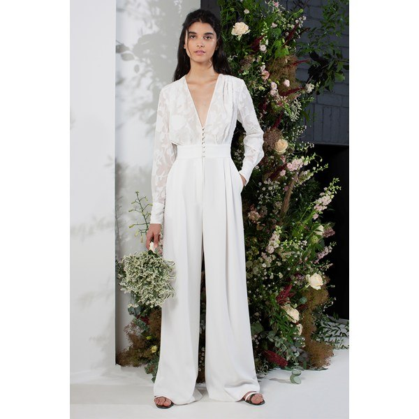 Annalise Satin Belted Bridal Jumpsuit - summer white