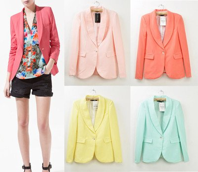 Basic Candy OL Mint Green Coral Light Pink Yellow Slim Suit Jacket Blazer s M L-in Blazer & Suits from Apparel & Accessories on Aliexpress.com