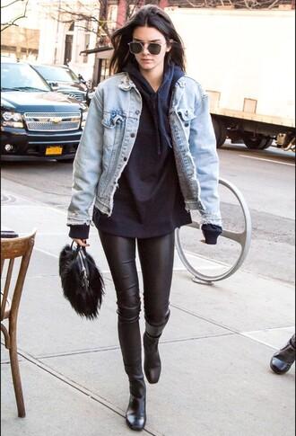jacket kendall jenner denim jacket leather pants black boots model model off-duty