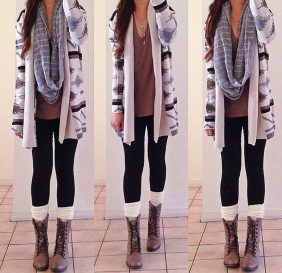 cardigan long aztec fall outfits fall outfits socks