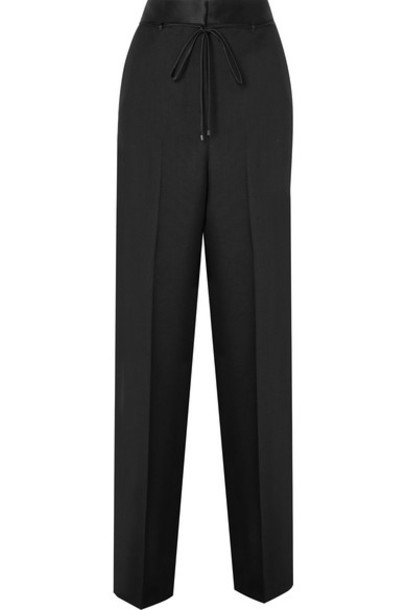 Bottega Veneta pants wide-leg pants mohair black silk wool satin