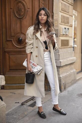 fadela mecheri blogger coat shirt jeans shoes sunglasses bag trench coat striped shirt white pants loafers spring outfits