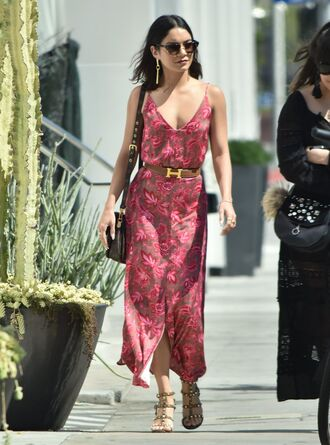 dress maxi dress vanessa hudgens sandals streetstyle belt shoes