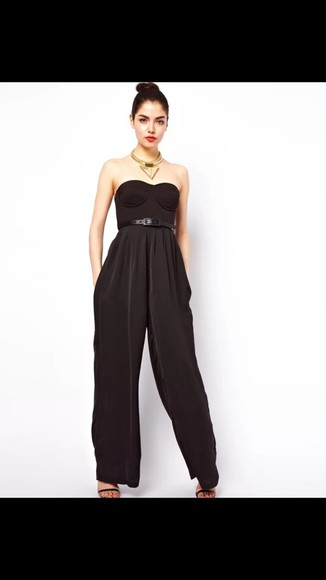 sleeveless black jumpsuit black jumpsuit wide-leg pants wide leg jumpsuit wide leg bralette belt