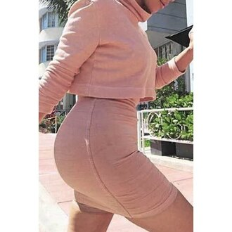 dress pink turtleneck fashion style long sleeves fall outfits skirt top warm comfy rose wholesale-feb