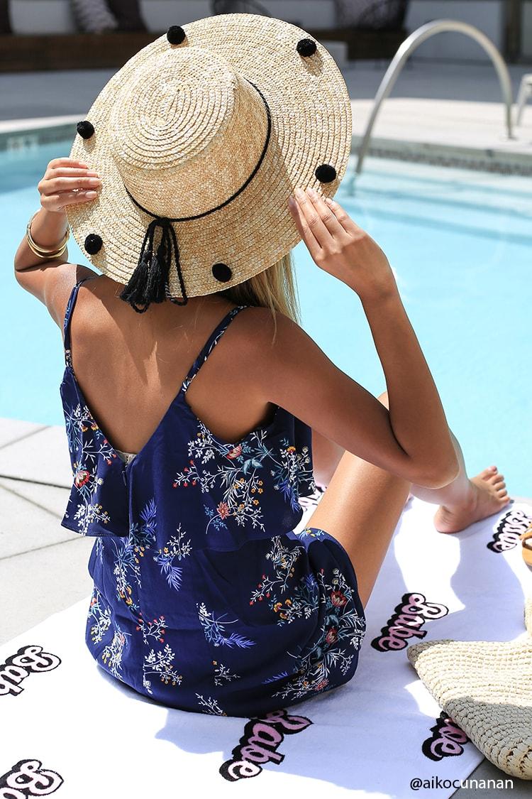 Pom Pom Straw Boater Hat
