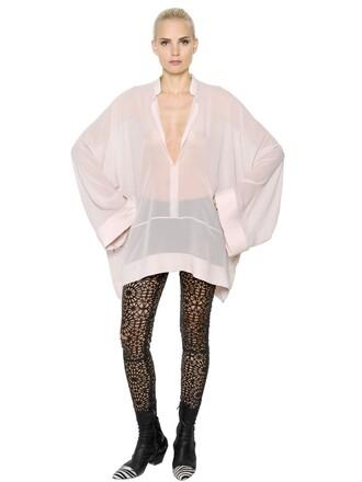 shirt chiffon sheer silk light pink light pink top
