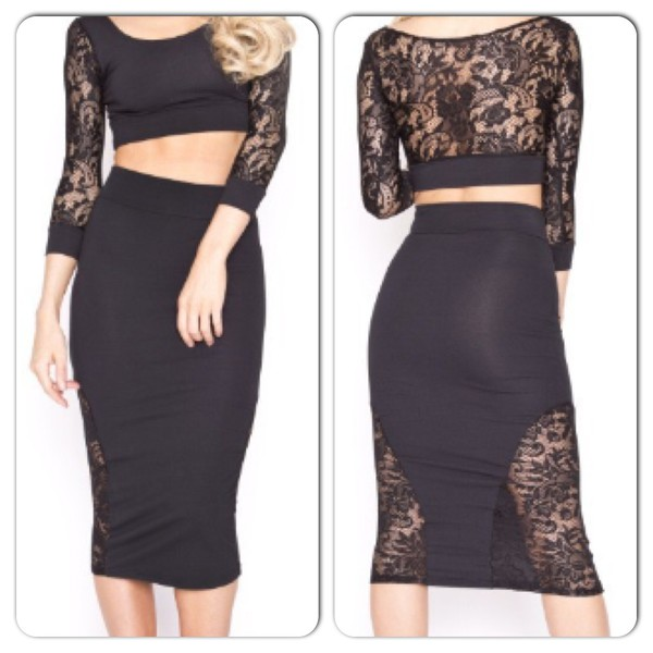 dress two-piece black lace dress lace dress lace skirt lace crop top crop tops