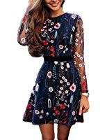 Ninimour Womens Floral Embroidery Casual Mesh Dress at Amazon Women's Clothing store: