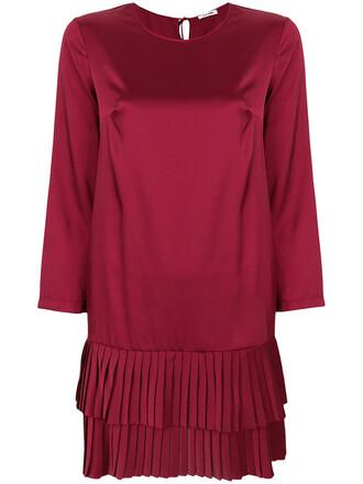 dress pleated women red