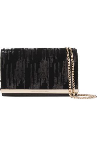 embellished bag shoulder bag leather black velvet