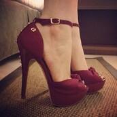 shoes,high heels,pumps,sandals,dark red,spikes,spiked,burgundy,blouse,spiked shoes,red high heels,red,peep toe,peep toe heels,wine red,suade shoes,suade,studded,platform shoes,open toes,wine,ankle strap,studs,studded high heels,burgundy heels,carmen steffens,rose,high heeled shoe,belt,girly,burgundy shoes