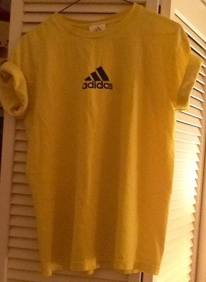 yellow t-shirt t-shirt adidas black symbol