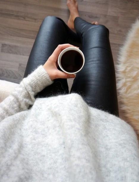 pants blackleatherpants grey sweater