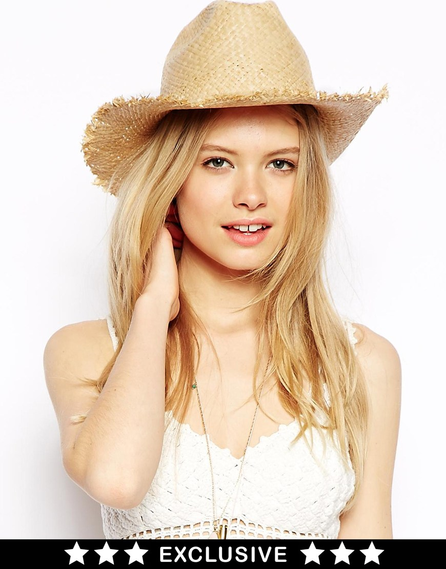 Catarzi Exclusive to ASOS Frayed Cowboy Hat at asos.com