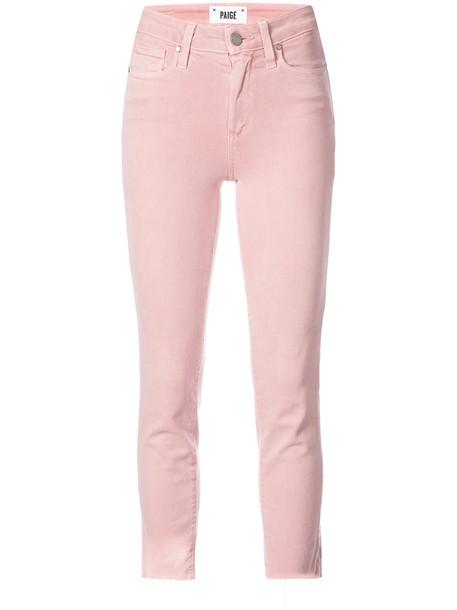 Paige jeans cropped jeans cropped women spandex cotton purple pink