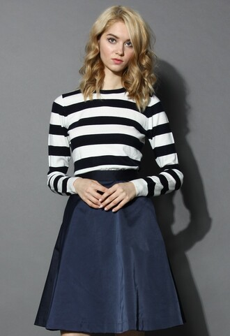 chicwish classic stripped long-sleeves sweater