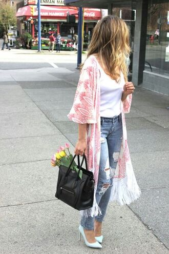 cardigan kimono bag jeans shoes jacket
