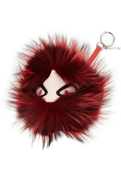 bag fendi fur keychain all red wishlist keychain trendy fur faux fur accessories Accessory