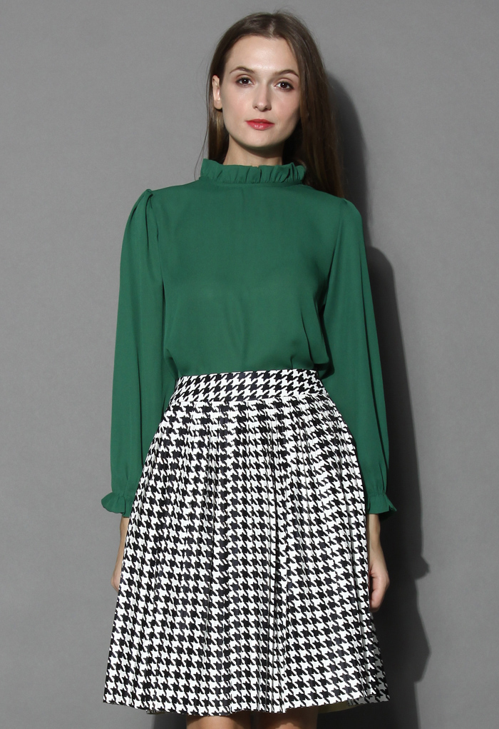 Ruffle Trimmed Crepe Top in Emerald - Retro, Indie and Unique Fashion