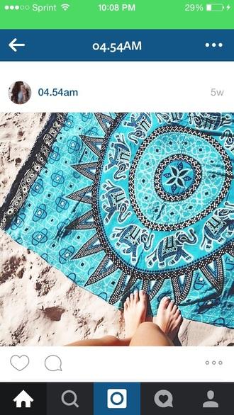 swimwear beach towel blue tribal