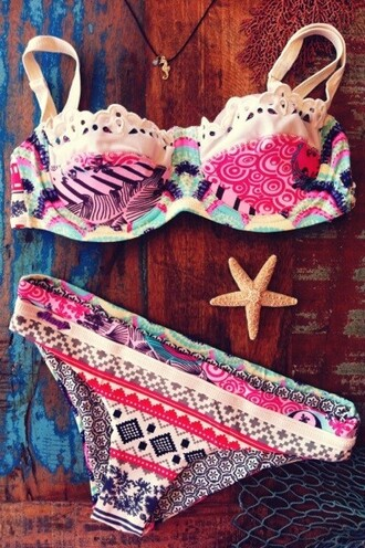 swimwear bikini bohemian pink colorful clothes beach pattern lace ruffle print tribal pattern stars fish two-piece girly idea summer water swimming swimming costume white blue black swirls polka dots jewels colorful bikini aztek vintage crochet native cute multicolor hippie boho turquiose underwear bandue waves sea aztec azetc fashion outfit style cute  outfits bikini top bikini bottoms beautiful floral swimwear