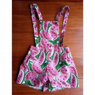 romper overalls overall shorts watermelon print