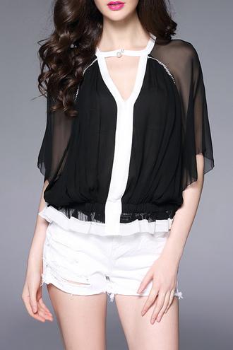 blouse dezzal black mesh see through black and white fashion style denim