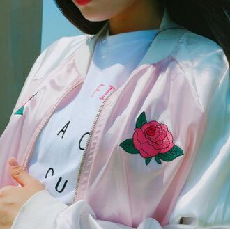jacket pink roses pastel asian ulzzang flowers bomber jacket embroidered korean fashion aesthetic pastel pink