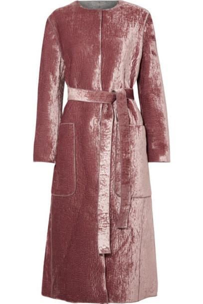 Bottega Veneta - Crushed-velvet Coat - Pink