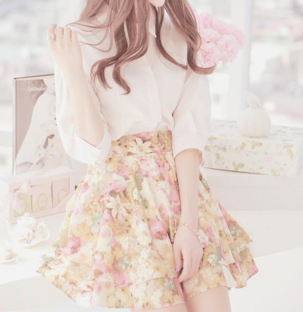 skirt floral skirt white top