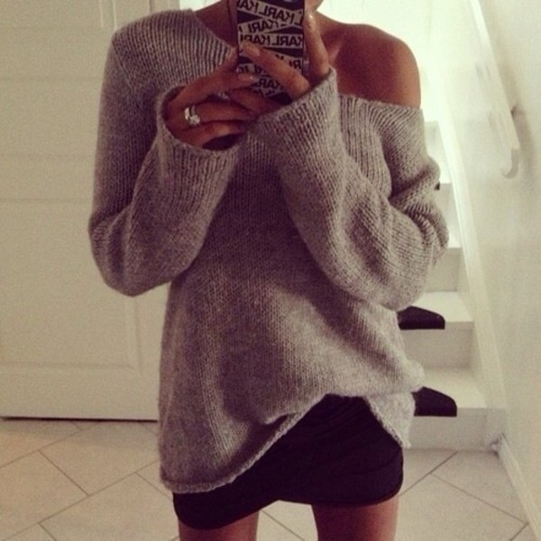 sweater oversized sweater grey pullover knitted sweater cardigan grey warm winter coat biege color off the shoulder