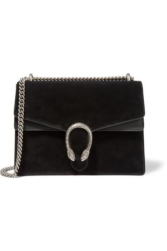 bag shoulder bag leather suede black