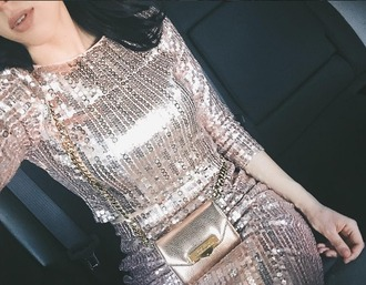 dress gold bright sequins tumblr girl wow blogger celebrity style
