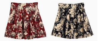 black red skirt floral leasticated waist print choies