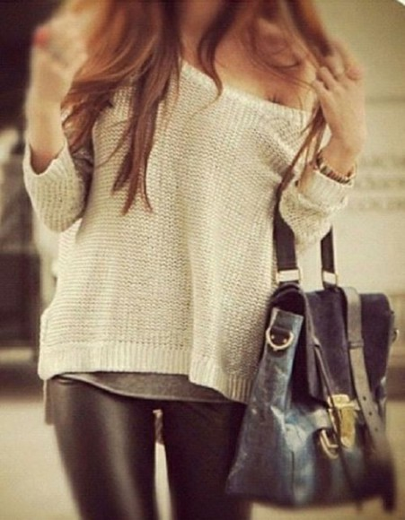 leather sweater grey leggings