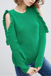 sweater,ootd,green sweater,bare shoulder,maykool