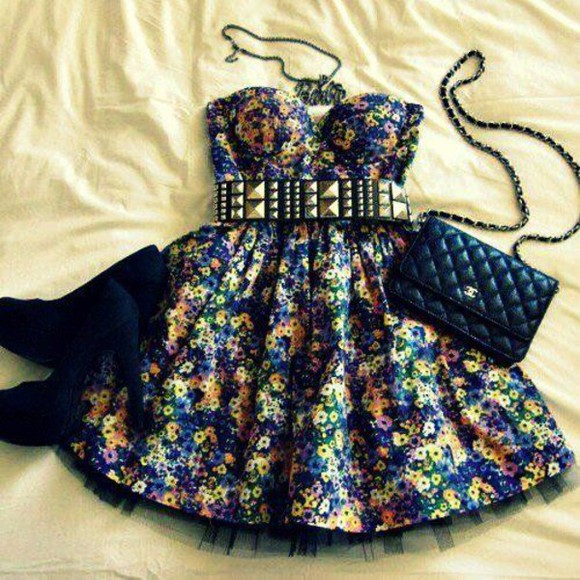 bustier bustier dress floral floral dress studs we heart it bag