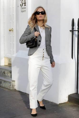jacket tumblr blazer grey blazer top white top bag black bag denim jeans white jeans shoes sunglasses