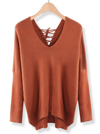 sweater orange fall outfits fashion style trendy long sleeves knitwear newchic