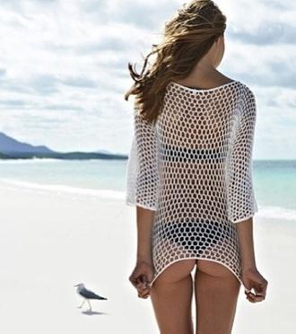 shirt beach top shirts bikini white cotton holes
