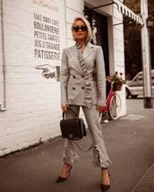 jacket,grey blazer,ruffle,cropped pants,pants,pumps,handbag,sunglasses
