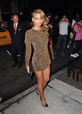 dress mini dress gold sparkles long sleeves gold cassie ventura