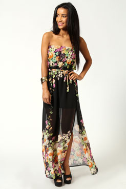 Faith Printed Bandeau Side Split Dress at boohoo.com