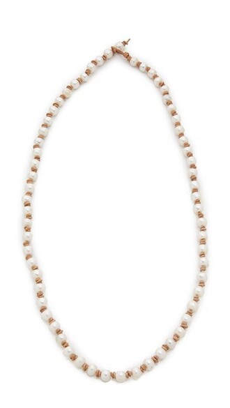 pearl light necklace brown jewels